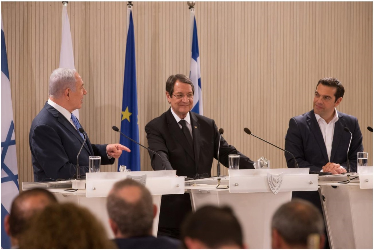 From Left: Prime Minister Benjamin Netanyahu of Israel, President Nicos Anastasiades of Cyprus, and Prime Minister Alexis Tsipras of Greece